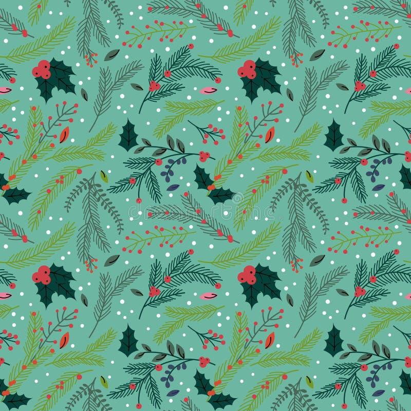 Modello floreale del fondo di Tileable di festa senza cuciture di Natale royalty illustrazione gratis