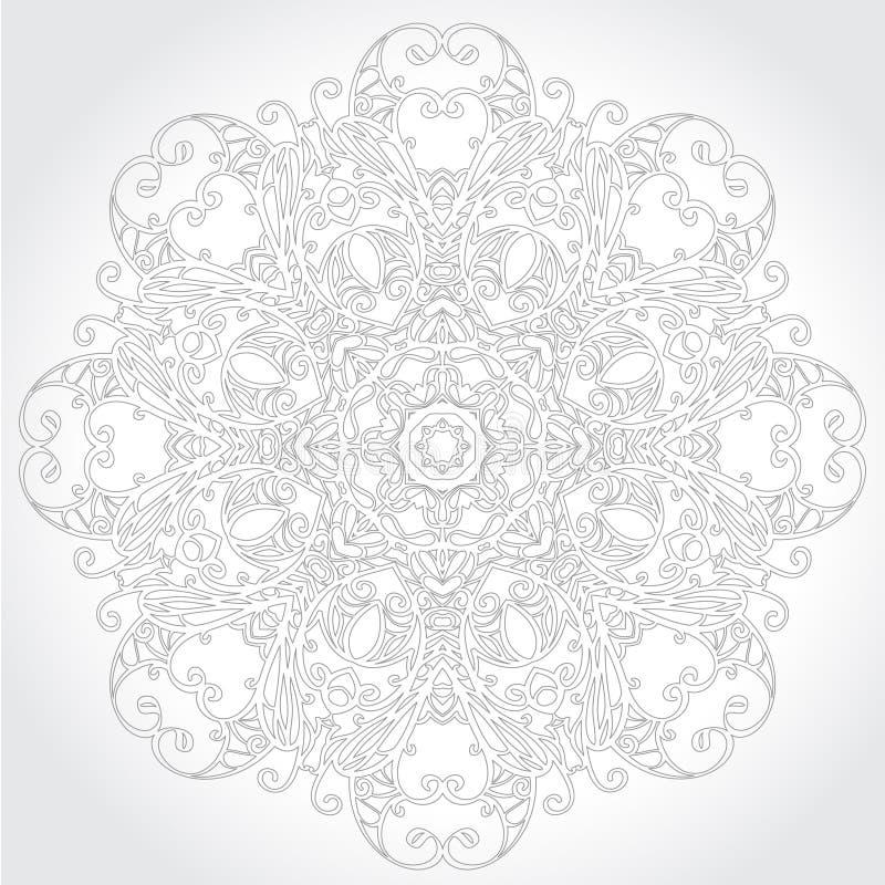 Modello floreale del pizzo rotondo ornamentale illustrazione di stock