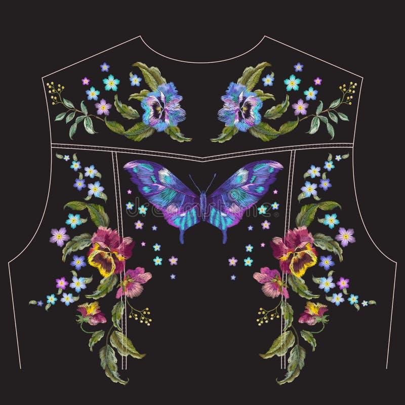 Modello floreale del ricamo con le viole del pensiero per la parte posteriore del rivestimento dei jeans illustrazione di stock
