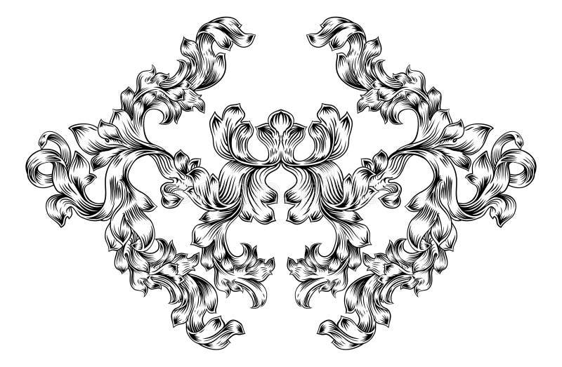 Modello floreale del rotolo di motivo nello stile d'annata illustrazione di stock