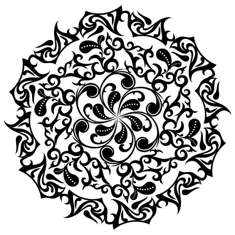 Modello floreale del tatuaggio, ornamenti asiatici, vettore illustrazione vettoriale