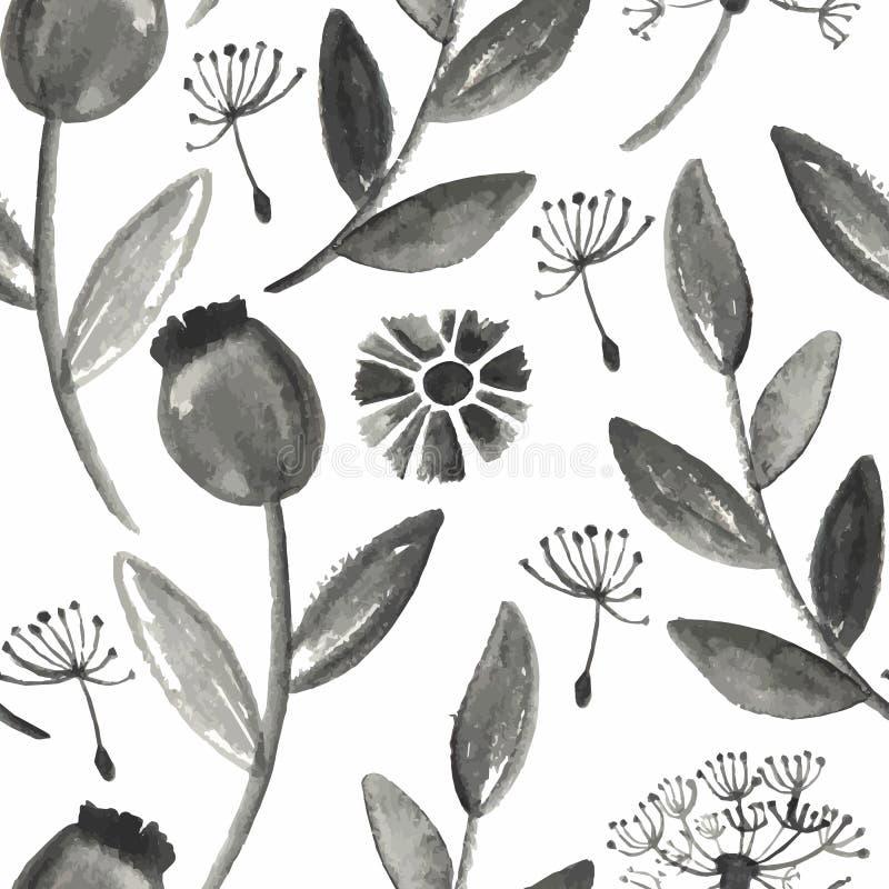 Modello floreale dell'acquerello senza cuciture di vettore illustrazione vettoriale