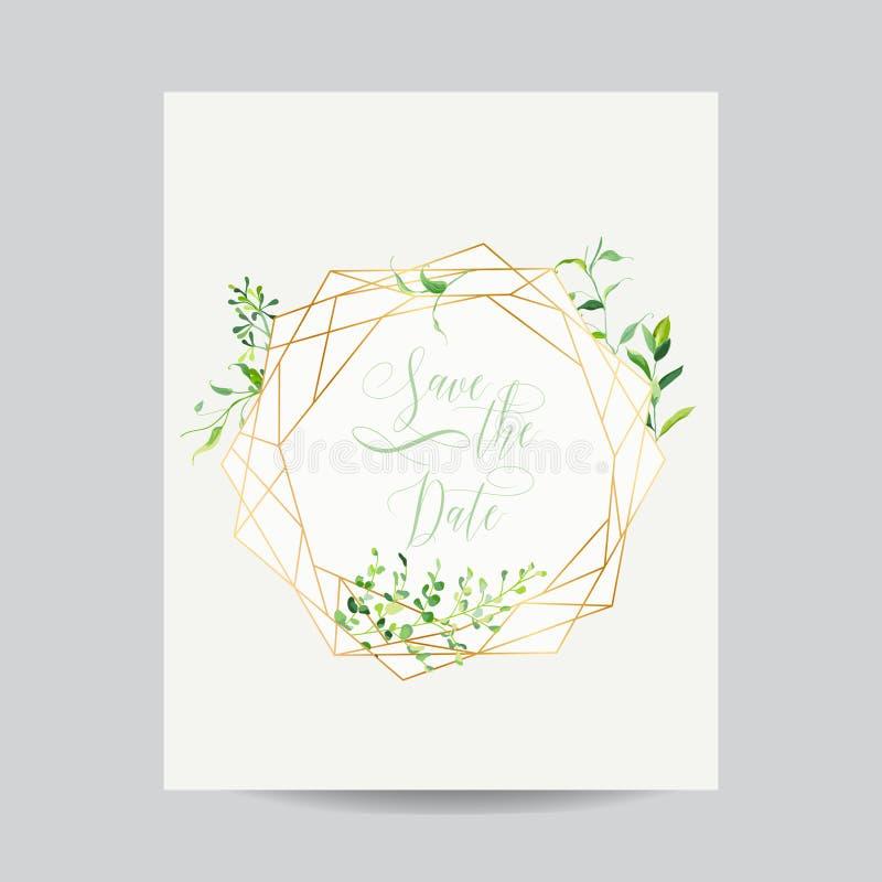 Modello floreale dell'invito di nozze Conservi la pagina della data con il posto per il vostri testo e foglie tropicali Cartolina illustrazione vettoriale