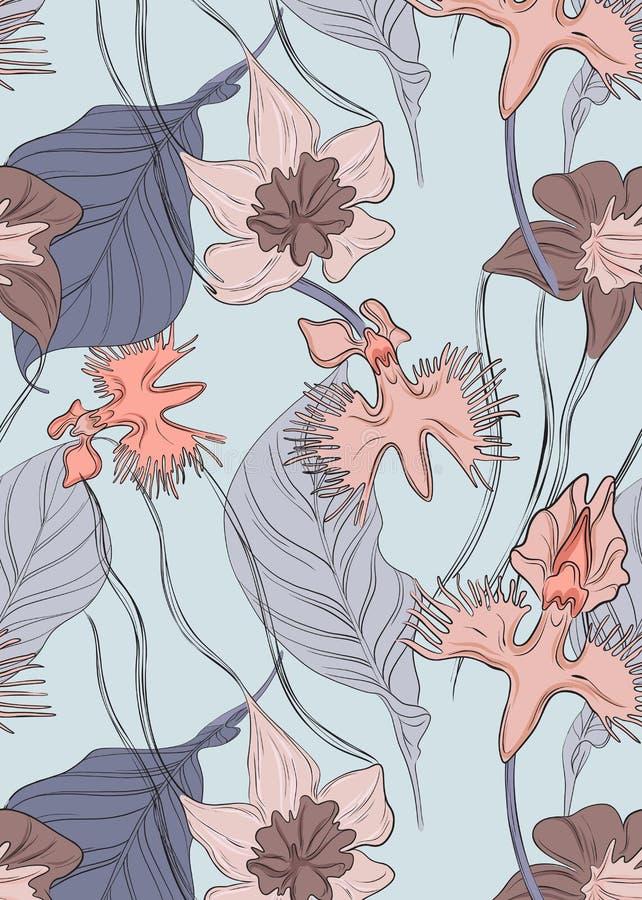 Modello floreale dell'orchidea di vettore Stampa botanica del fiore tenero di ripetizione con le foglie Decorazione esotica natur illustrazione di stock