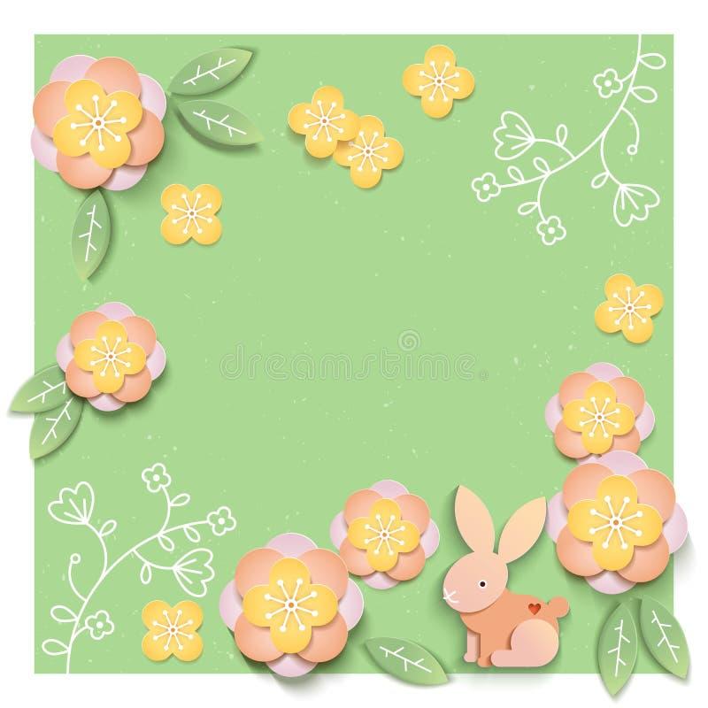 Modello floreale della carta con il campo in bianco o vuoto Illustrazione di vettore royalty illustrazione gratis