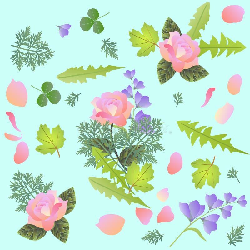Modello floreale della primavera con il mazzo delle rose e fiori di campane, petali, foglie del dente di leone, trifoglio, viburn royalty illustrazione gratis
