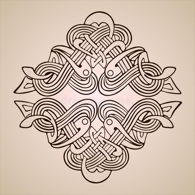 Modello floreale della struttura del rotolo dell'ornamento del confine barrocco d'annata dell'incisione retro illustrazione vettoriale
