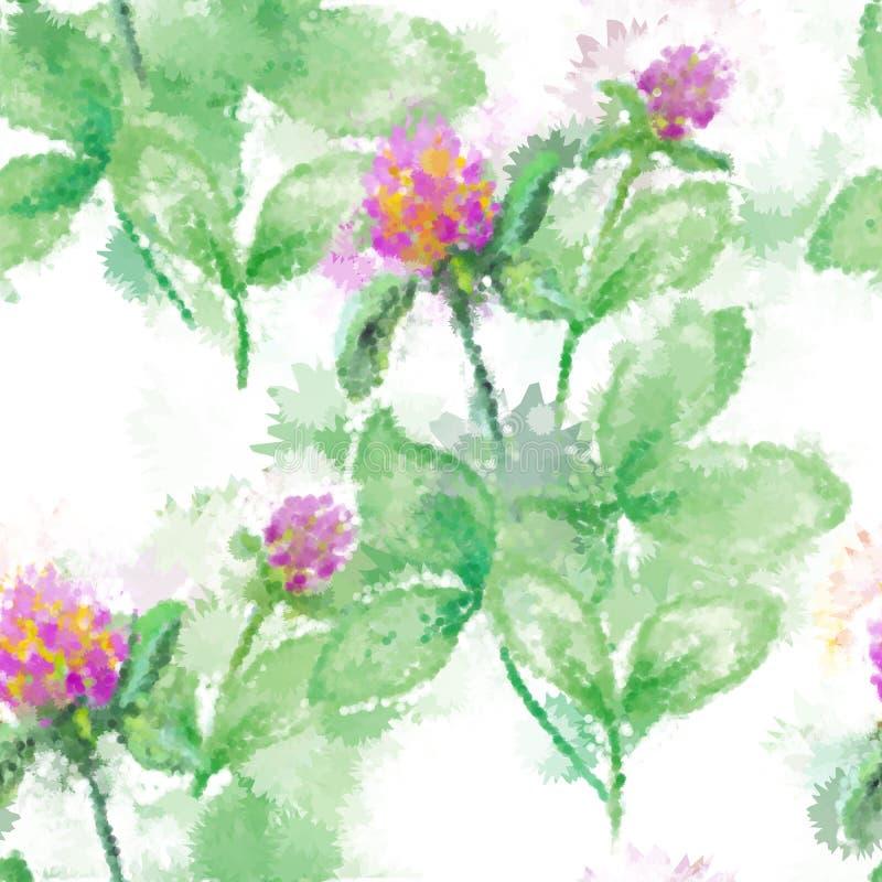 Modello floreale di astrazione senza cuciture dell'acquerello nello stile d'annata su fondo bianco Emulazione dell'acquerello di  illustrazione vettoriale