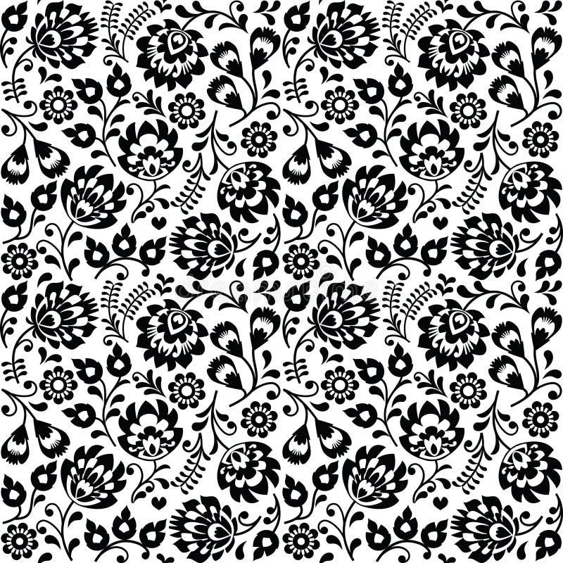 Modello floreale di piega del nero polacco senza cuciture di arte - lowickie wzory, wycinanki illustrazione di stock