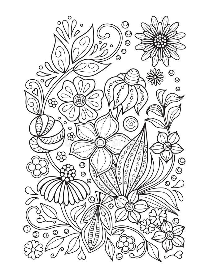Modello floreale di scarabocchio in bianco e nero Pagina per il libro da colorare: lavoro di rilassamento per i bambini e gli adu illustrazione di stock