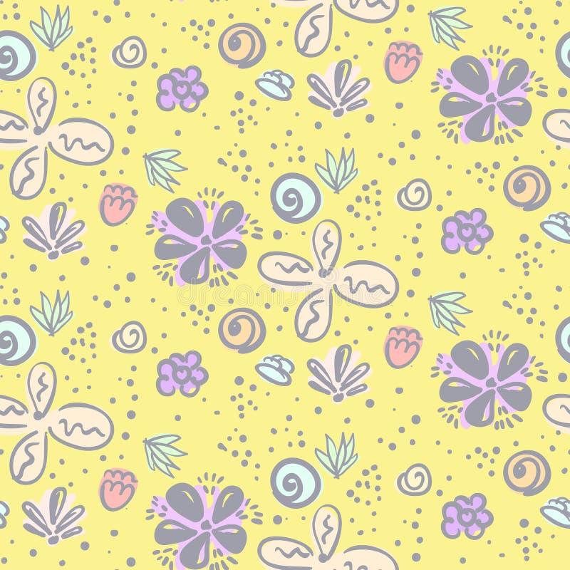 Modello floreale di scarabocchio ingenuo giallo sveglio illustrazione vettoriale