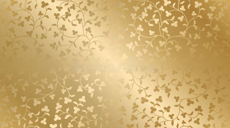 Modello floreale di struttura dorata senza cuciture di vettore Fondo di ripetizione di lusso del damasco Panno di seta premio o d illustrazione vettoriale