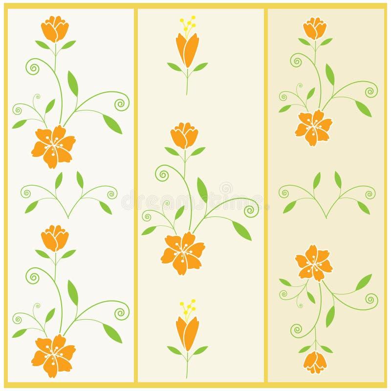 Modello floreale di vettore con il fiore e le foglie illustrazione di stock