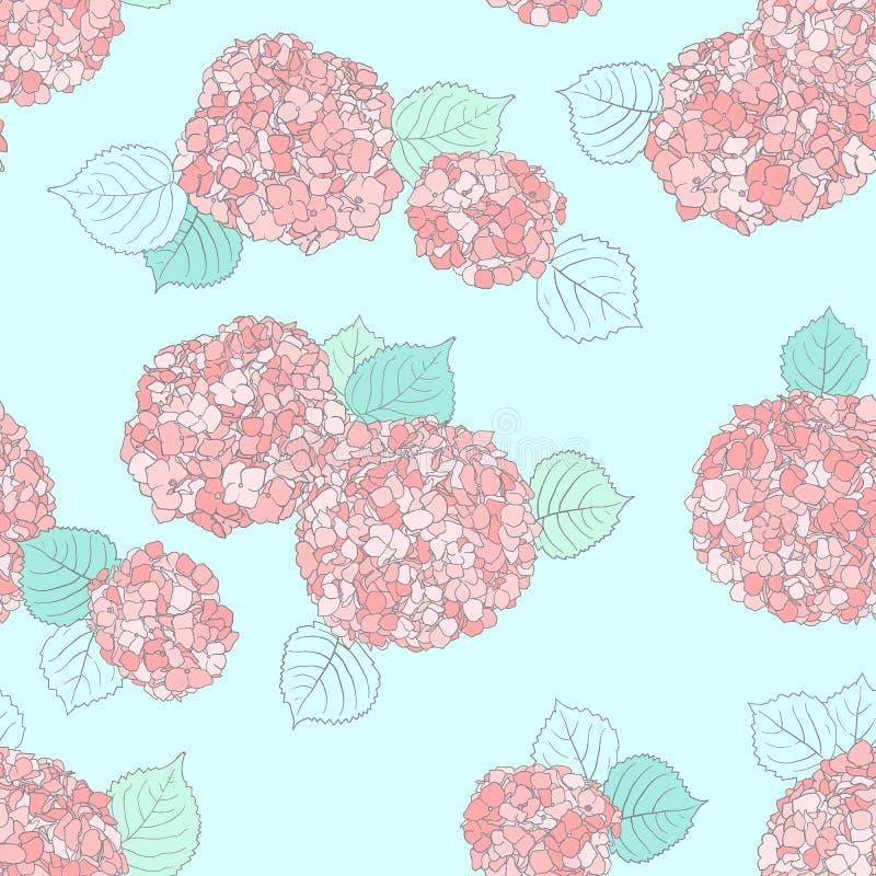 Modello floreale di vettore con il fiore di Hortensia Modello senza cuciture di vettore nel colore di primavera illustrazione vettoriale