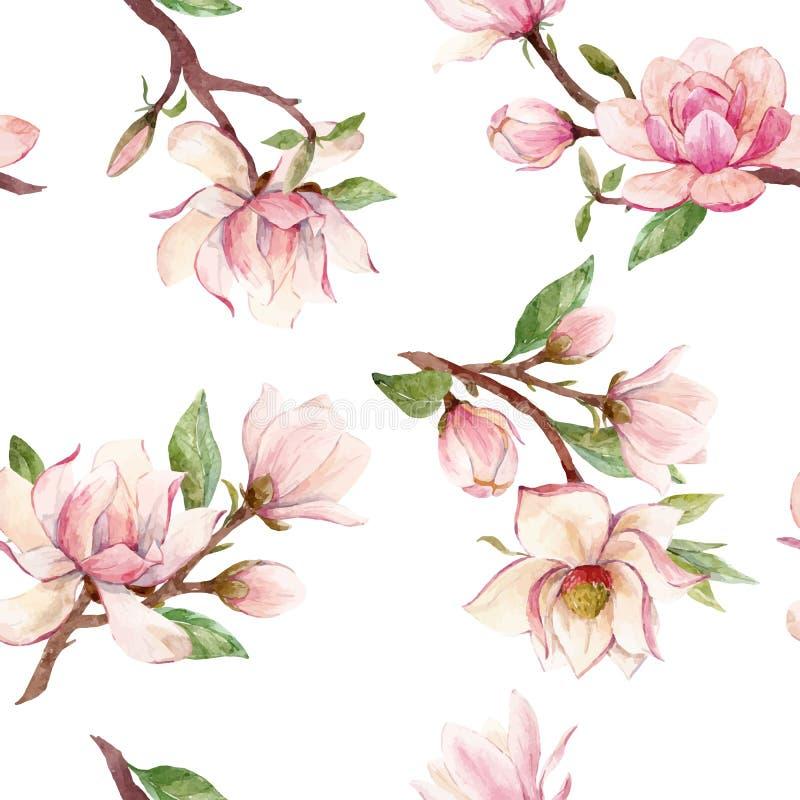 Modello floreale di vettore della magnolia dell'acquerello royalty illustrazione gratis