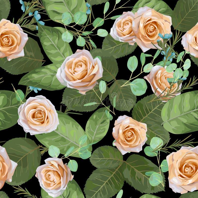 Modello floreale di vettore scuro della marina rose e foglie con il eucalyptu royalty illustrazione gratis