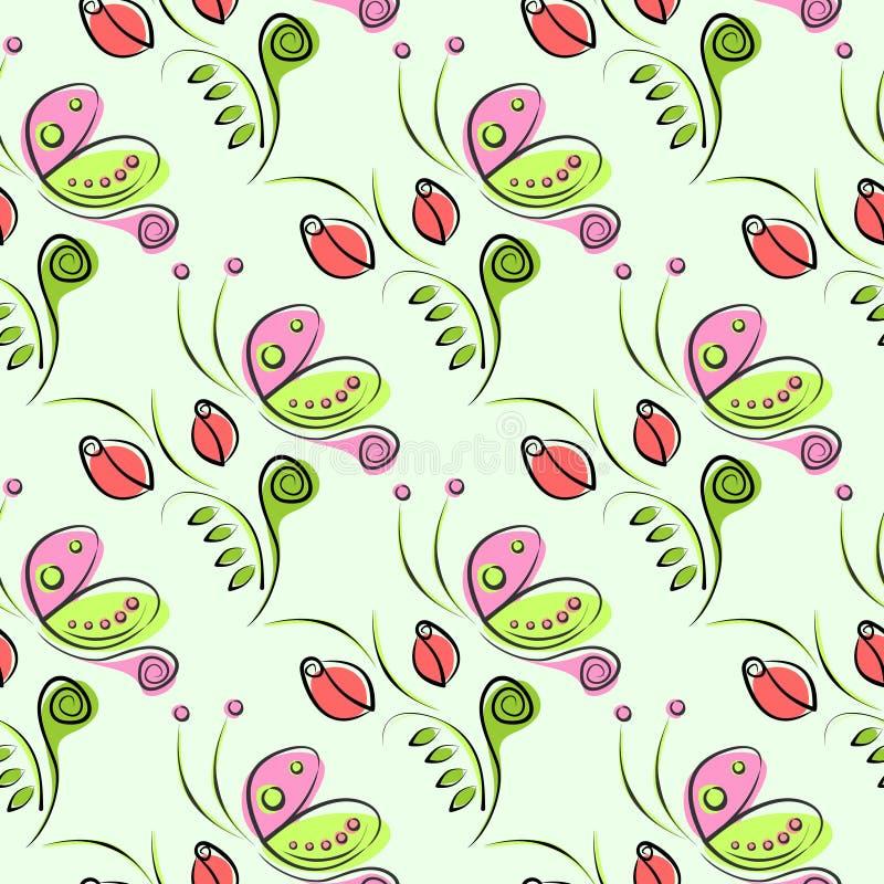 Modello floreale di vettore senza cuciture con l'insetto Fondo ornamentale decorativo con le farfalle, le rose, le foglie e i ele illustrazione di stock