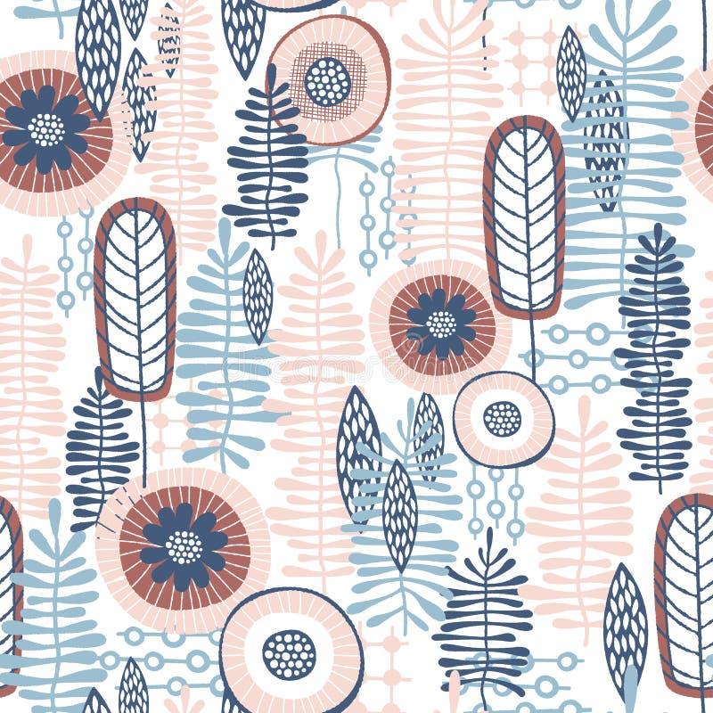 Modello floreale di vettore senza cuciture con le tonalità rosa blu & di corallo dei colori illustrazione di stock