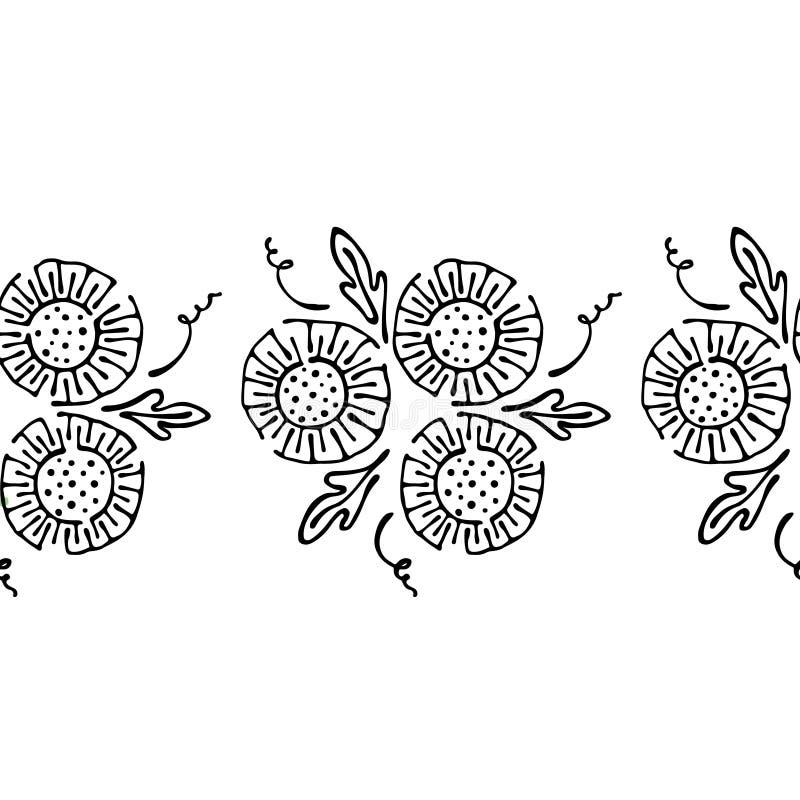 Modello floreale disegnato a mano di vettore senza cuciture, struttura senza fine del confine con i fiori, foglie Grafico sveglio royalty illustrazione gratis