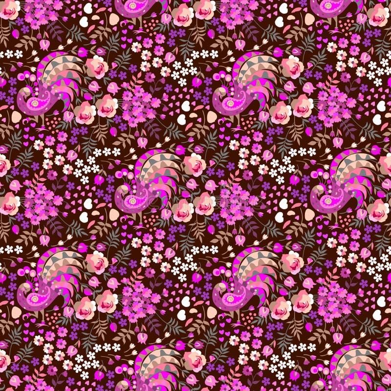 Modello floreale ditsy senza cuciture nello stile russo piega Uccelli di fantasia con le code nella forma del mazzo di fiori, pic illustrazione vettoriale