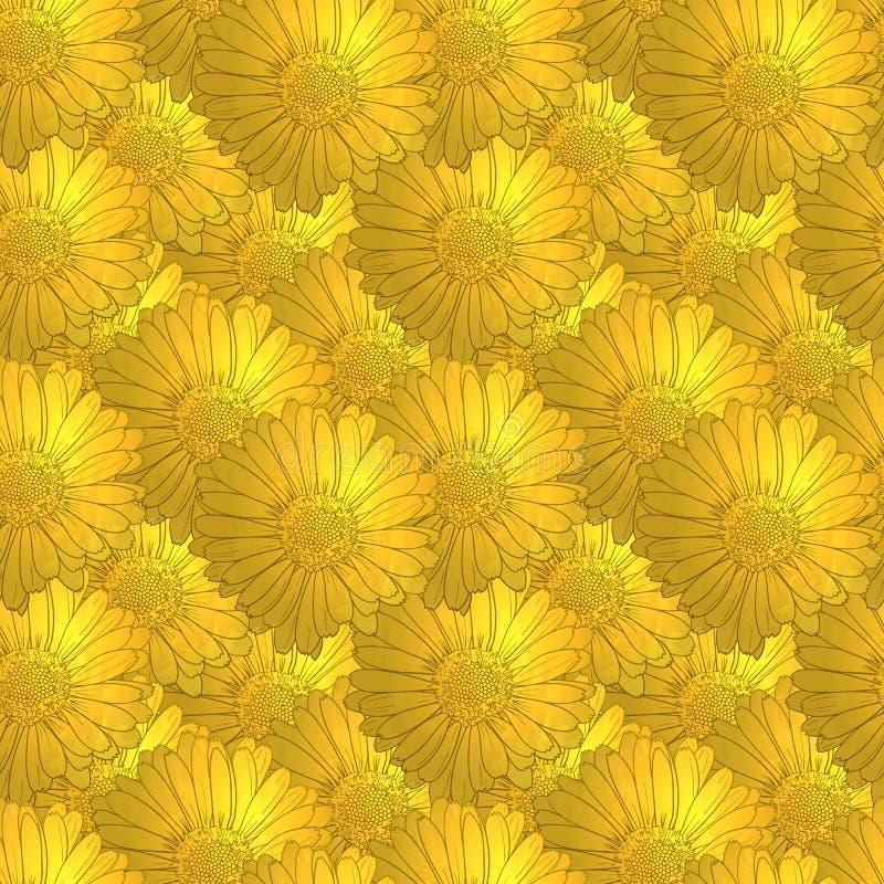 Modello floreale dorato senza cuciture di vettore, fiori d'annata illustrazione di stock