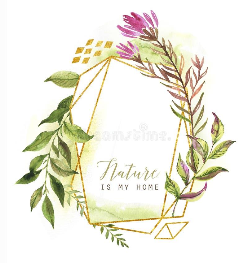 Modello floreale e poligonale dell'acquerello disegnato a mano della struttura per la carta, manifesto, insegna, invito di nozze illustrazione vettoriale