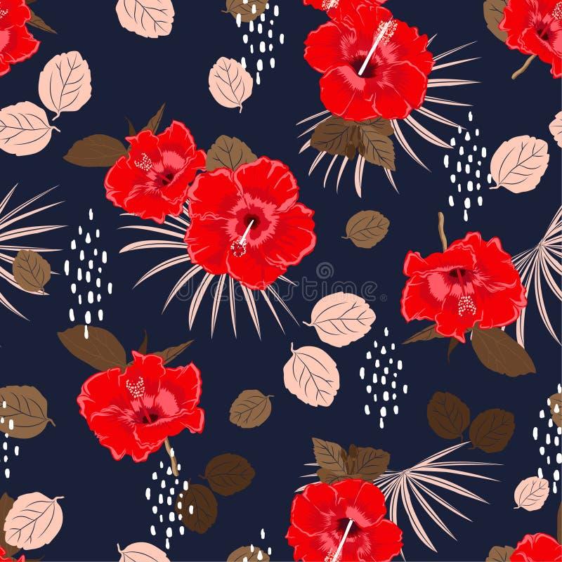 Modello floreale esotico del bello ibisco senza cuciture di vettore, fondo di estate della molla con i fiori tropicali, foglie di illustrazione di stock