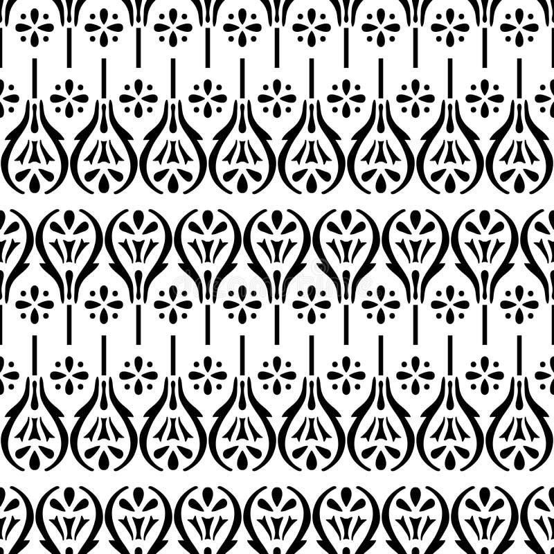 Modello floreale etnico del blockprint illustrazione vettoriale
