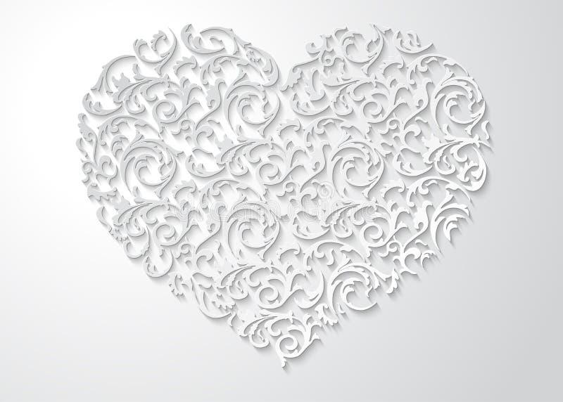 Modello floreale a forma di del cuore bianco con le foglie Simbolo modellato di amore 3d con ombra su fondo leggero illustrazione di stock