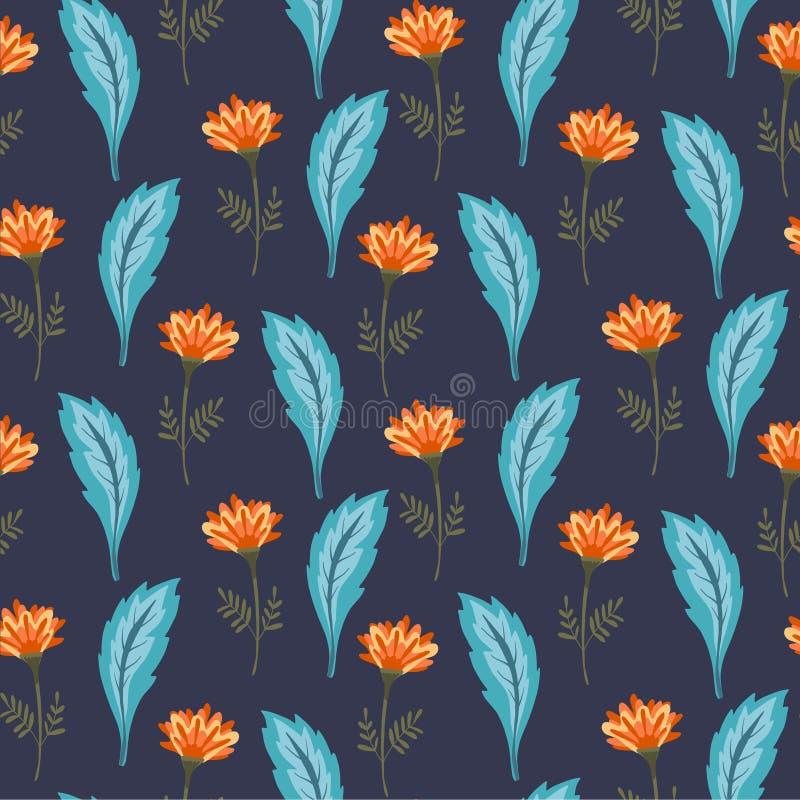 Modello floreale magico con i fiori arancio svegli royalty illustrazione gratis