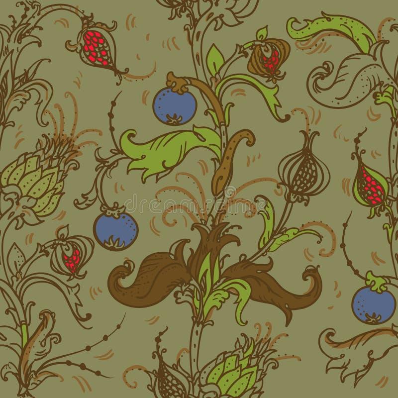 Modello floreale medievale royalty illustrazione gratis