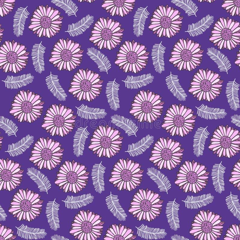 Modello floreale porpora con i fiori rosa teneri illustrazione vettoriale