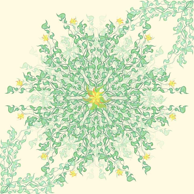 Modello floreale rotondo della molla delicata illustrazione di stock