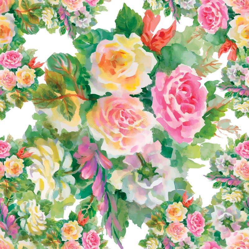 Modello floreale senza cuciture con delle rose rosse ed arancio illustrazione vettoriale