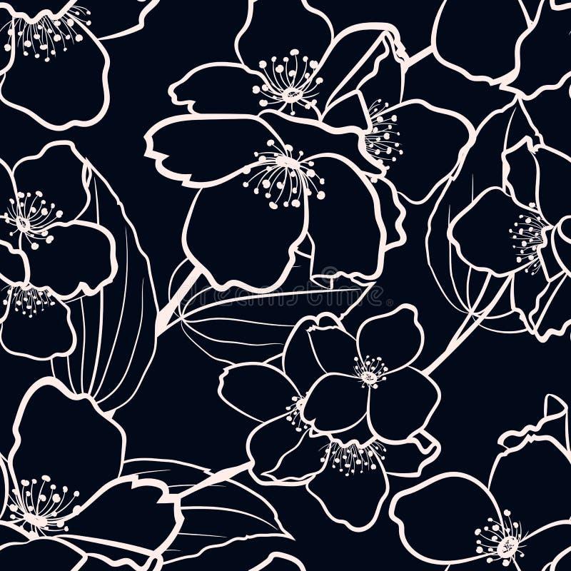 Modello floreale senza cuciture con gli elementi del gelsomino di vettore per tessuto illustrazione vettoriale