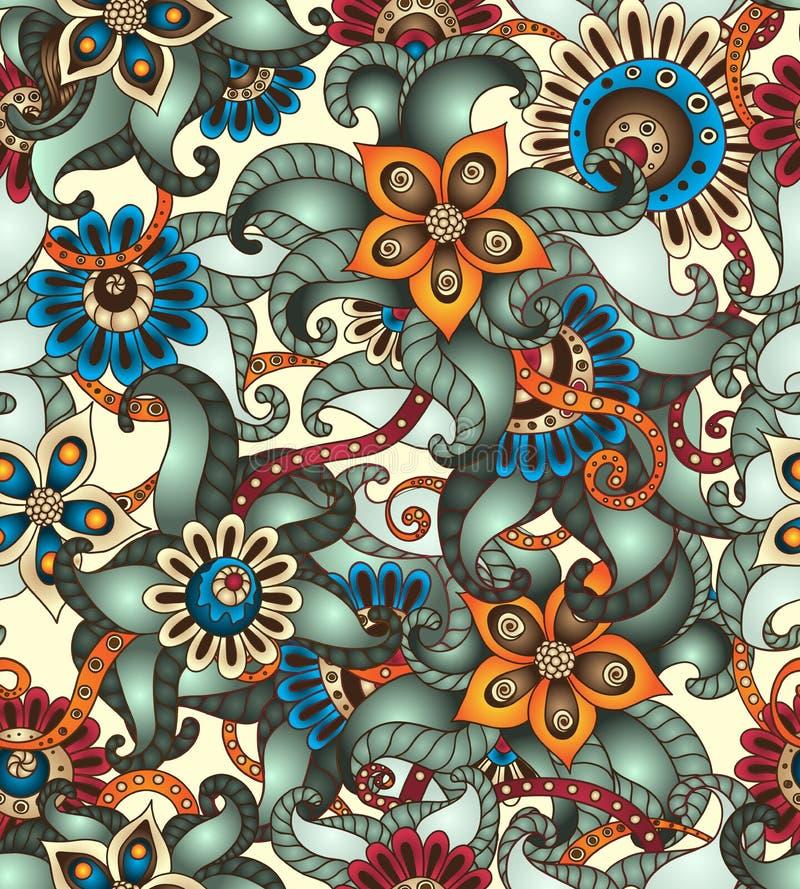Modello floreale senza cuciture con gli scarabocchi ed i cetrioli illustrazione vettoriale