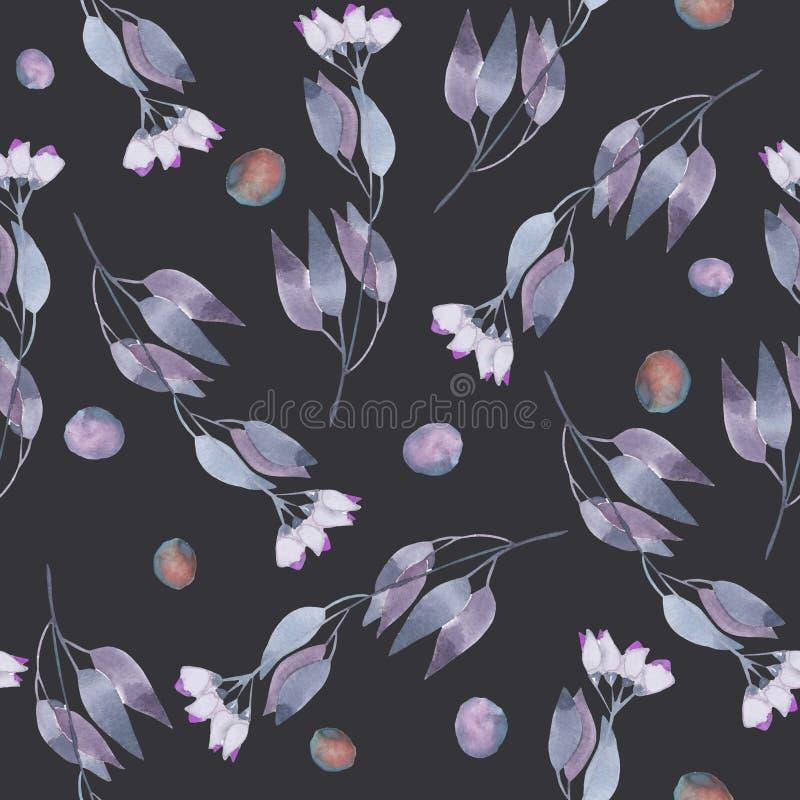Modello floreale senza cuciture con i fiori astratti blu semplici dell'acquerello illustrazione vettoriale
