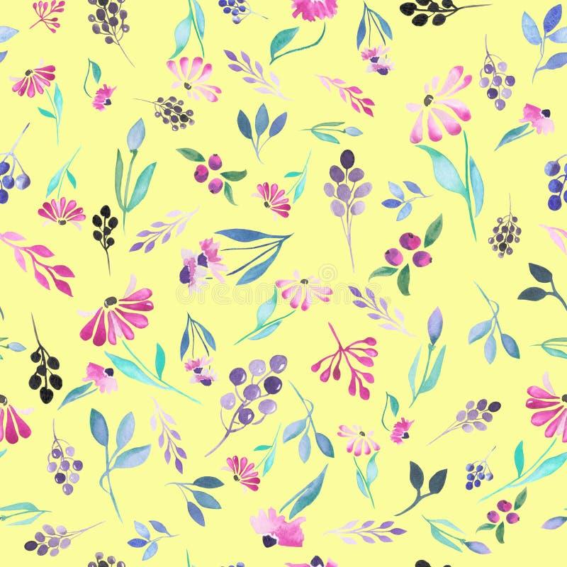 Modello floreale senza cuciture con i fiori dell'acquerello, le foglie del blu e le bacche porpora illustrazione di stock