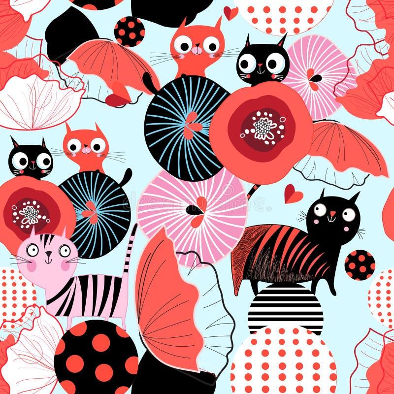 Modello floreale senza cuciture con i gatti degli amanti illustrazione vettoriale