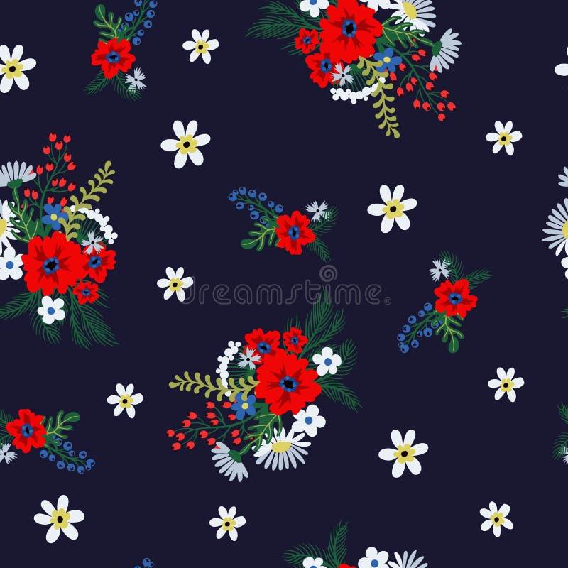Modello floreale senza cuciture con i piccoli fiori ditsy svegli Illustrazione di vettore illustrazione vettoriale