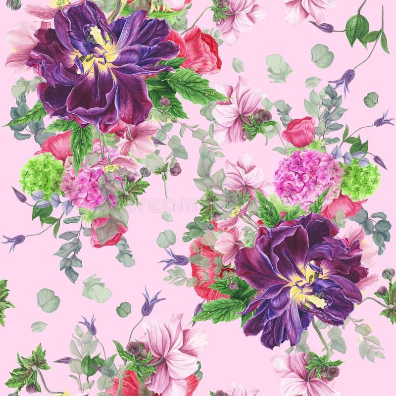 Modello floreale senza cuciture con i tulipani, gli anemoni, l'ortensia, l'eucalyptus e le foglie, pittura dell'acquerello illustrazione vettoriale