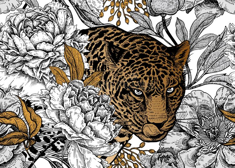 Modello floreale senza cuciture con il leopardo e le peonie royalty illustrazione gratis