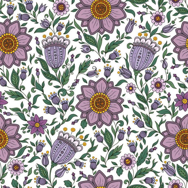 Modello floreale senza cuciture con le piante variopinte di fantasia e royalty illustrazione gratis