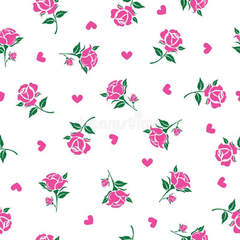 Modello floreale senza cuciture con le rose rosa illustrazione vettoriale