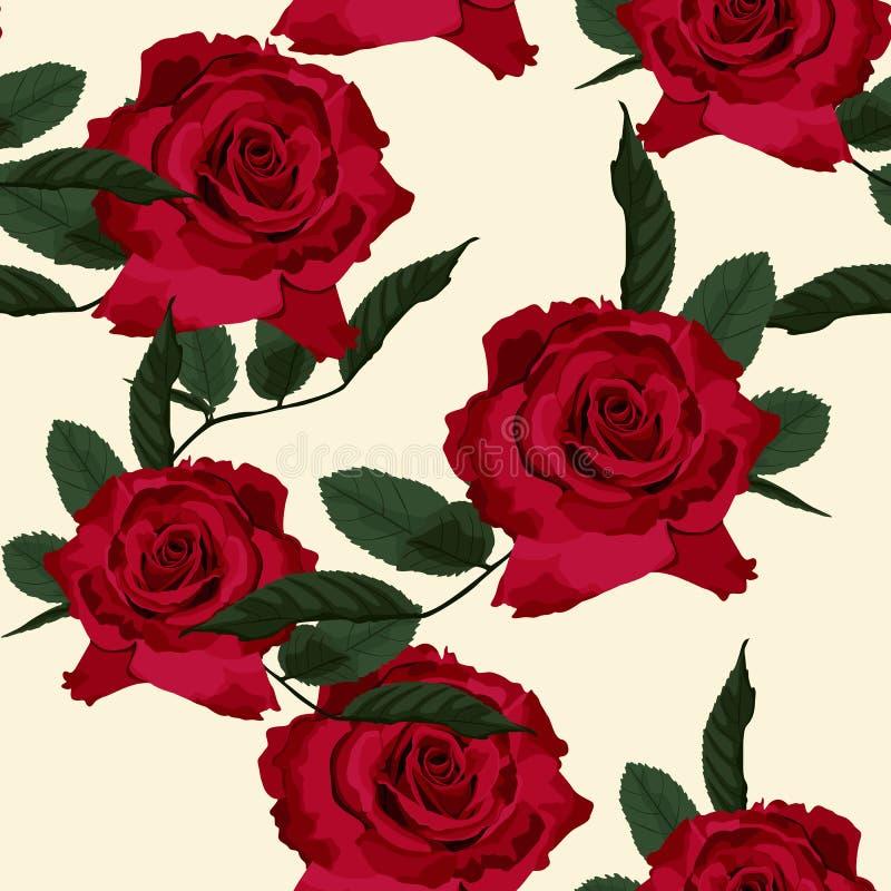 Modello floreale senza cuciture con le rose rosse su fondo beige illustrazione vettoriale