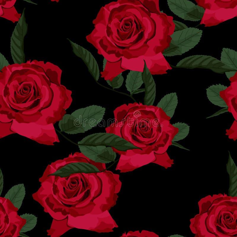 Modello floreale senza cuciture con le rose rosse su fondo nero royalty illustrazione gratis
