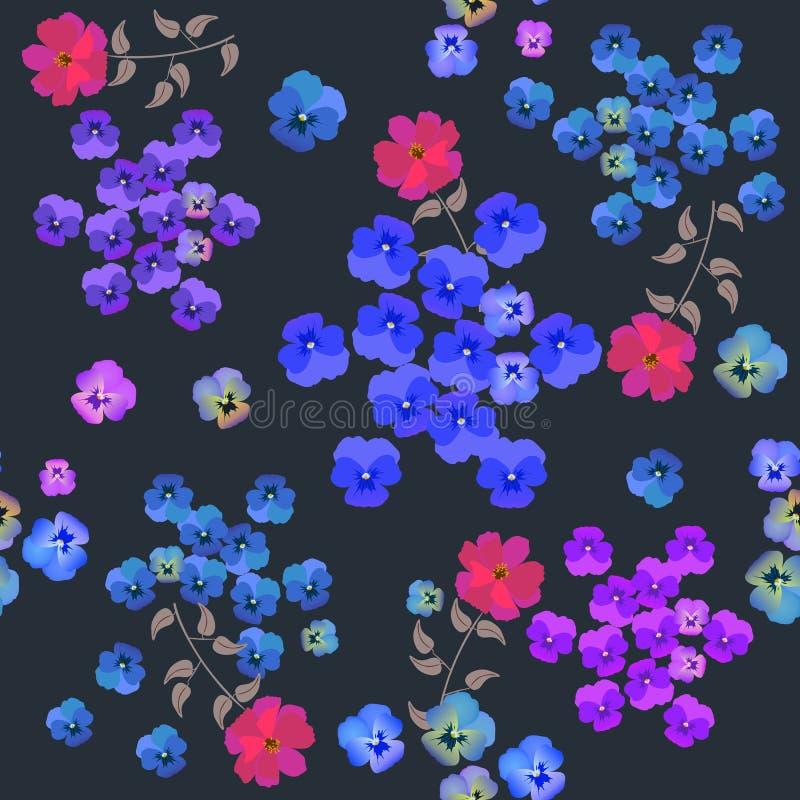 Modello floreale senza cuciture con le viole del pensiero ed i fiori cremisi dell'universo su fondo nero nel vettore Stampa per t illustrazione vettoriale
