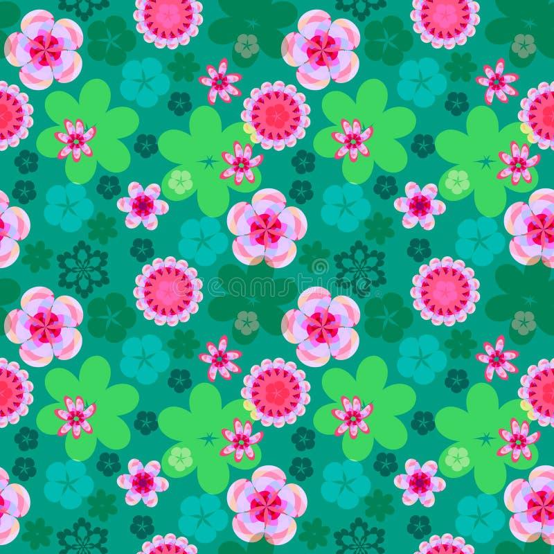 Modello floreale senza cuciture dei fiori rosa su un fondo verde intenso, fondo primavera-estate illustrazione di stock