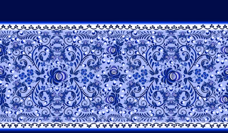 Modello floreale senza cuciture del confine lo stile nazionale Gzhelnd illustrazione di stock