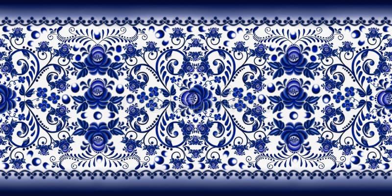 Modello floreale senza cuciture del confine per lo stile nazionale russo Gzhel su un fondo bianco illustrazione di stock